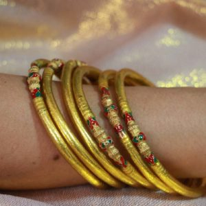 Gold Buddhist Temple Bracelet with Longya